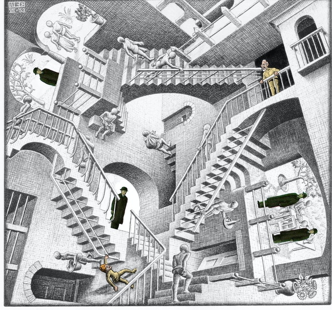 Walt and Grandpa corned in an Escher! (Is there a way out of an Escher?)