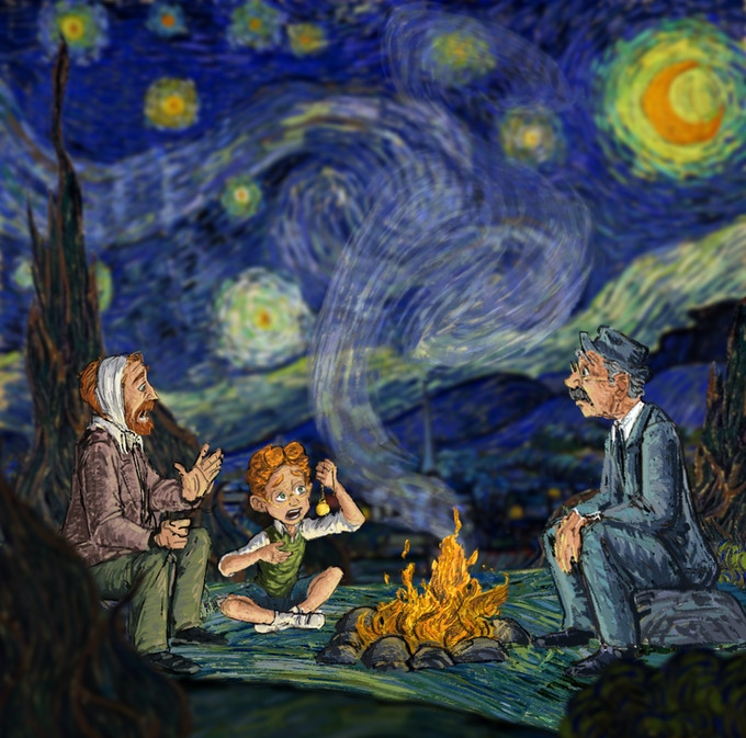 Starry night scene with a passionate, hard-hearing Van Gogh self-portrait.
