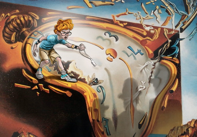 Walt takes on the bad guys atop one of Dali's melting clocks!