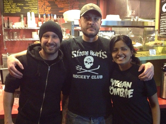 At Strong Hearts Cafe with Joel and Akshata