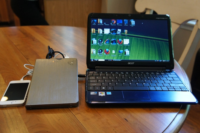 SunStash Power Pack Charging Laptop and Phone at Same Time
