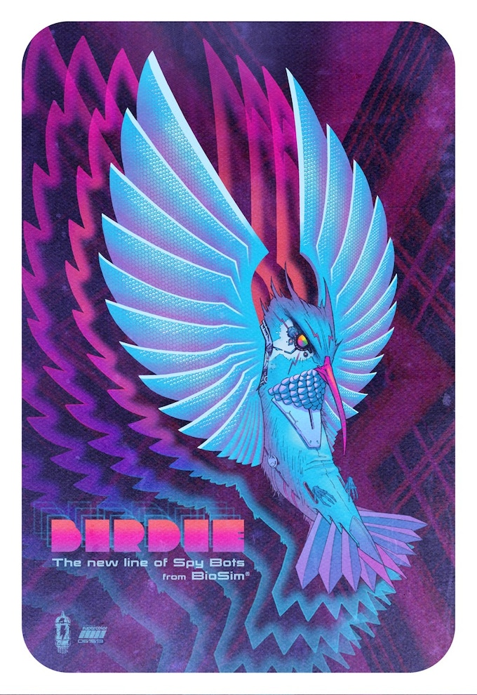 Gabe Bridwell's finished poster featuring Birdie, a surveillance bug eater cracked by Andrei who are now constant companions.
