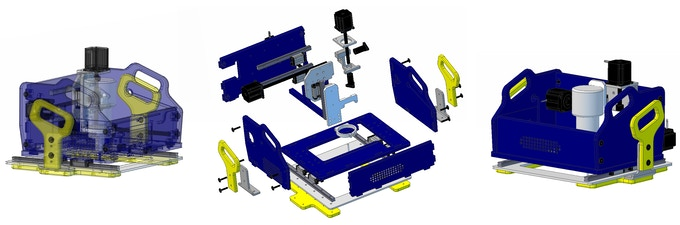 Models of Handibot. Plastic and aluminum components can be produced with digital fab equipment.