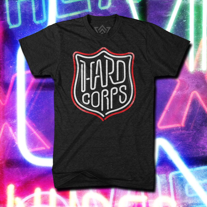 Our professionally designed t-shirt is one of many incentives you could receive when you donate to help us with our funding for Hard Corps.  (T-shirt designed by WARdrobe http://tsa-wardrobe.com)