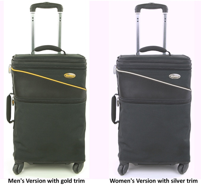 The SkyRoll Spinner Suitcase with wrap-around garment bag