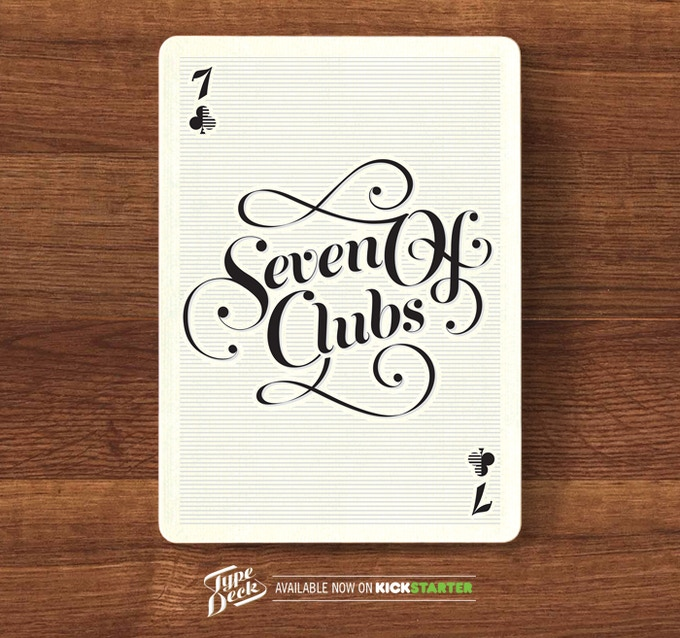 A mock up of the Clubs suit - The Seven of Clubs.