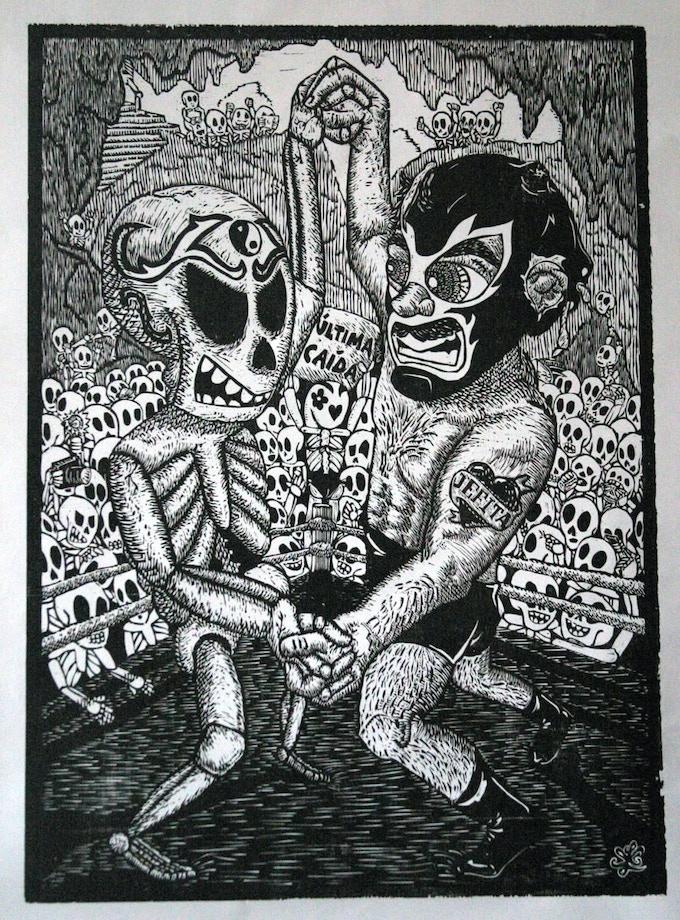 "Ricardo X. Serment, ""Luchando Contra La Muerte"" (Wrestling Against Death), woodcut, 30 x 22 in."