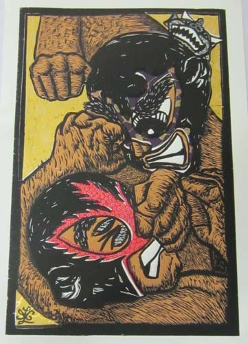 """Ricardo X. Serment, """"The Brawl"""", mix media (woodcut, screen-print, and collage paper), 20 x 13 in.**Yellow Background**"""