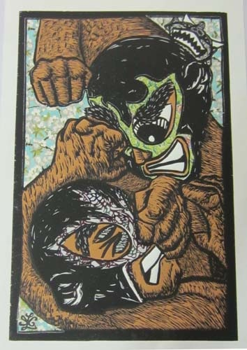 """Ricardo X. Serment, """"The Brawl"""", mix media (woodcut, screen-print, and collage paper), 20 x 13 in.**Light Blue Background**"""