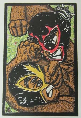 """Ricardo X. Serment, """"The Brawl"""", mix media (woodcut, screen-print, and collage paper), 20 x 13 in.**Green Background**"""