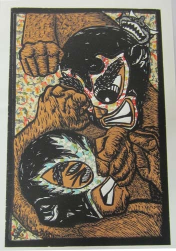 """Ricardo X. Serment, """"The Brawl"""", mix media (woodcut, screen-print, and collage paper), 20 x 13 in.**Floral Background**"""