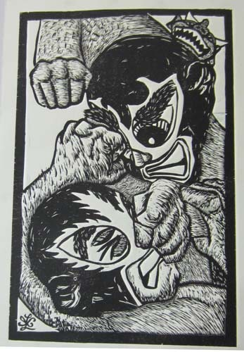 """Ricardo X. Serment, """"The Brawl"""", mix media (woodcut, screen-print, and collage paper), 20 x 13 in.**Black and White**"""