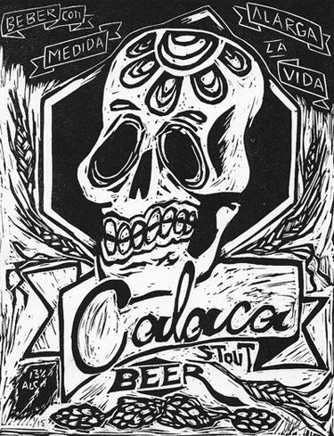 Antonio Pazaran, Calaca Beer, linoleum, 9 x 7 in.