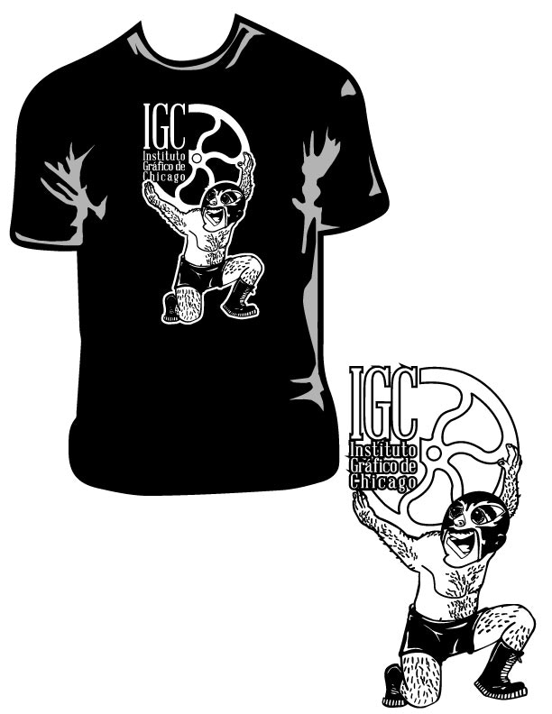 IGC t-shirt, hand-pulled screen-print with Speedball fabric ink. Available only in black, adult unisex sizes only; please specify size at checkout.