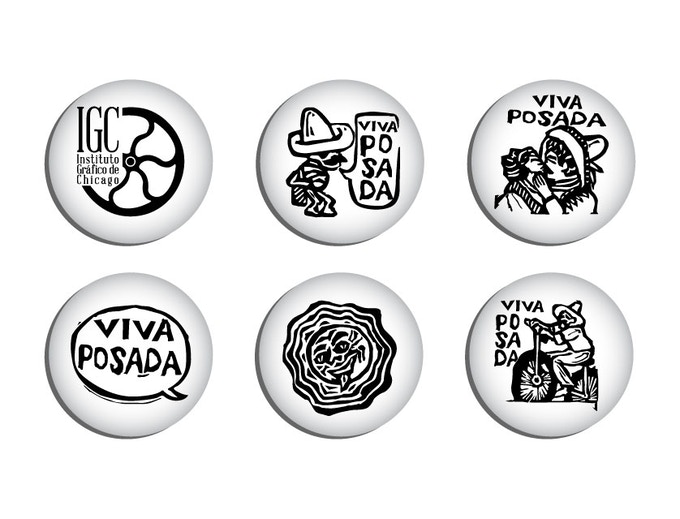 Two buttons; one with the IGC logo and the other is a design inspired by Jose Guadalupe Posada.