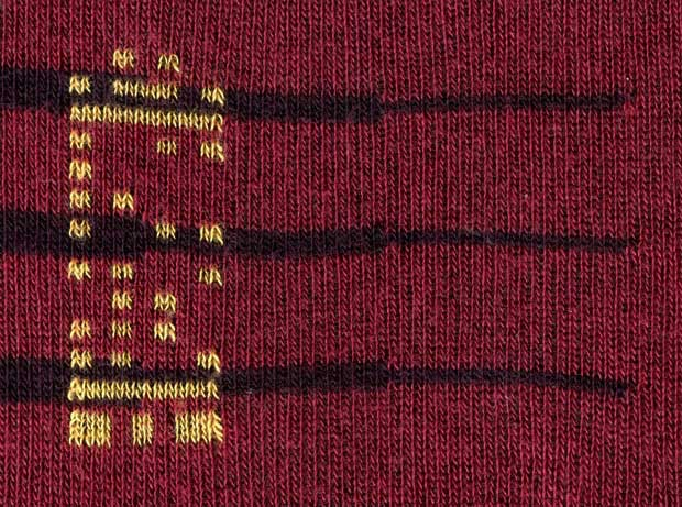 Each sock has a unique pattern, readable with software, identifying features and provenance.
