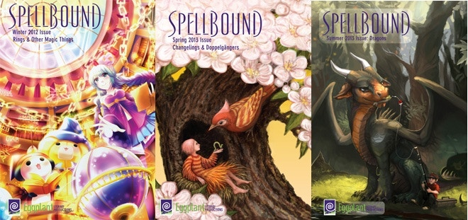 Covers from the first three issues of Spellbound.