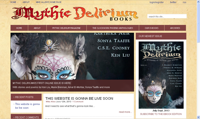 Here's a screenshot of the new MYTHIC DELIRIUM website that's under construction. To see more previews of the soon-to-be released first issue, scroll down the page.