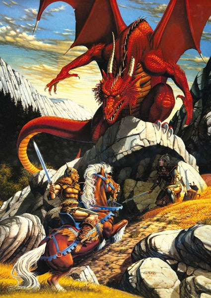 Larry Elmore artwork that inspired this large diorama set