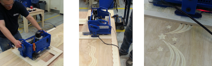 Using a fixture to manually register/index a carving over a large area.