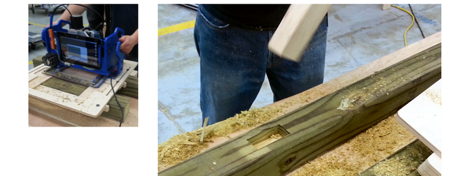 Cutting a perfect mortise (pocket) in a 4x4 post.