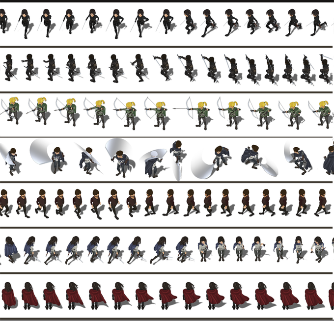 Detailed character sprites & animation