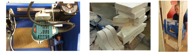 Handibot's 3-axis motion system;  test cuts of rafter tails;  and, an example accessory for wall cut-outs.