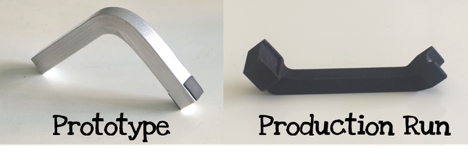 You will received the production run version of the Spinpod mount (right).