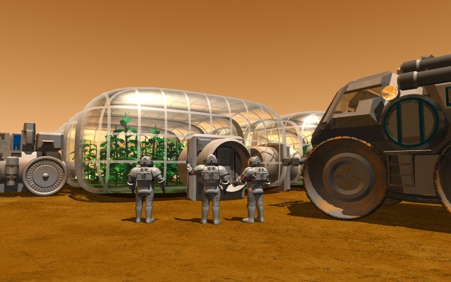 An inflatable greenhouse on Mars, image done for NASA Martian terraforming report.