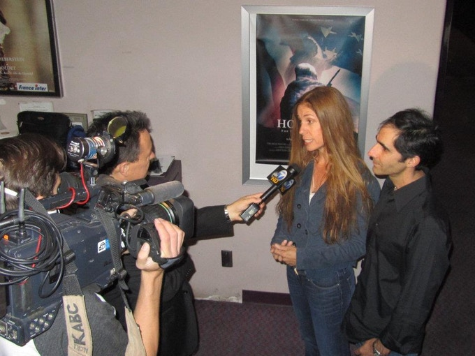 Filmmakers Jennifer Jessum and Simon J. Joseph interviewed by ABC News at the Los Angeles Premiere of HOLY MAN