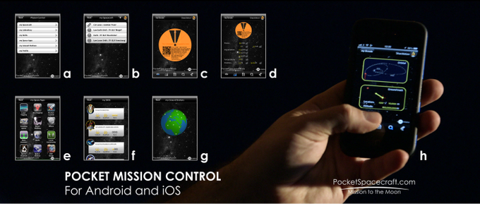 Pocket Mission Control will allow you to monitor your spacecraft telemetry (d), onboard apps (e), your training achievements (f), ground station status (g), and where your spacecraft is in space (h)