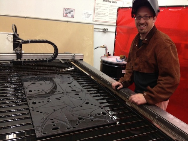Hooch Blake plasma-cuts flanges with a smile.
