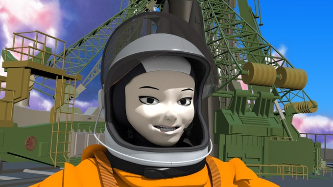 Georgiana Lerner near the launch pad in Baikonur
