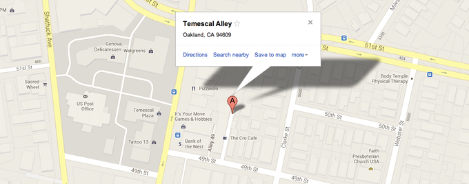 Temescal Alley is located on 49th st, steps from Telegraph ave.