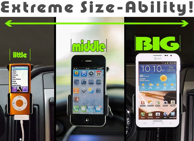 The CelGo can hold devices as small as a Nano, large as a Galaxy Note or anything in between