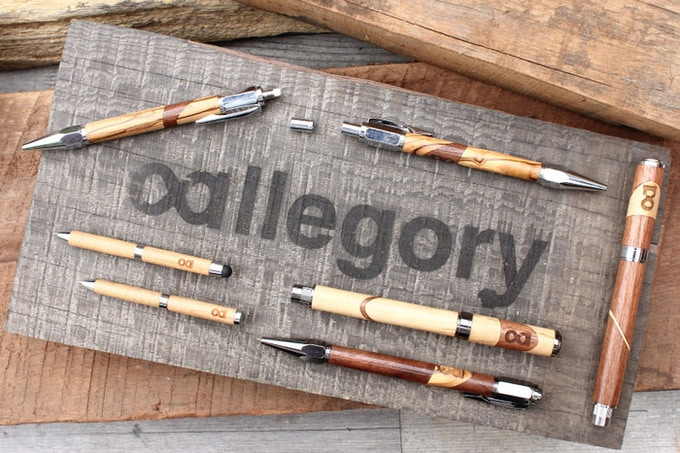 Allegory got started here, on Kickstarter. We released a line of writing instruments made from reclaimed, historical and ancient woods. Made with a story to remind you of your story.