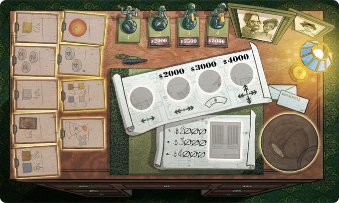Personal desk board: layout almost finished. This is the side for 2 or 3 players.