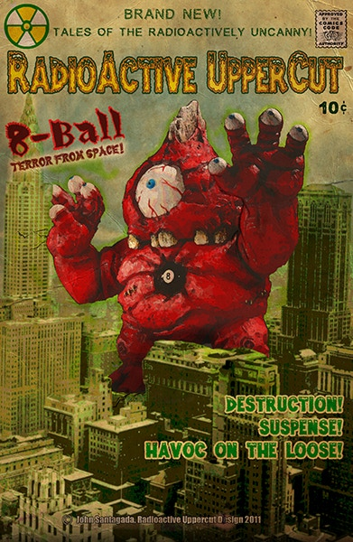 Faux 1960's monster comic style 8-ball cover art!