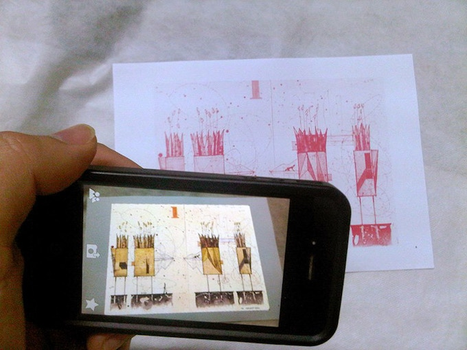 Augmented reality test with Chris T. Cornelius' drawing.