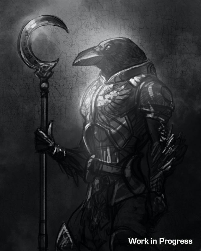 "Raven ""work in progress"" painting by Nathan Baertsch"