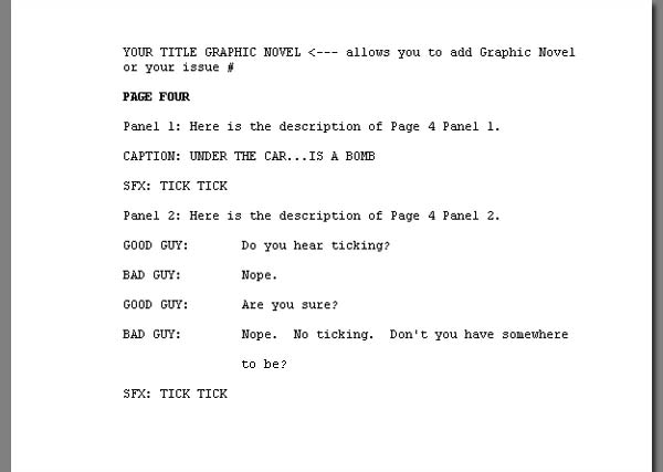 how to write a graphic novel script