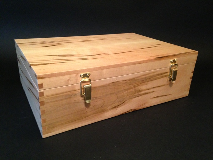 This is actually the first Dominion box I made.  The one in this project will have handles and will look a little different.  This box is made from Ambrosia maple.
