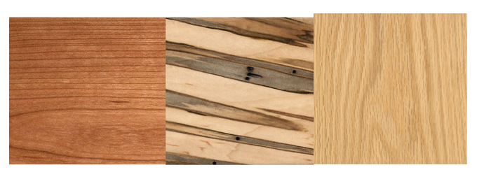 For Premium Boxes, you can choose from Cherry (left), Ambrosia Maple (middle), or Red Oak (right).