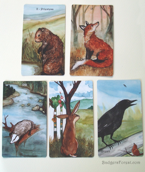 The original paintings used to make these cards are offered as a reward - The Priestess, The Nine of Foxes, The Eight of Badgers, The Two of Rabbits and The Queen of Crows.