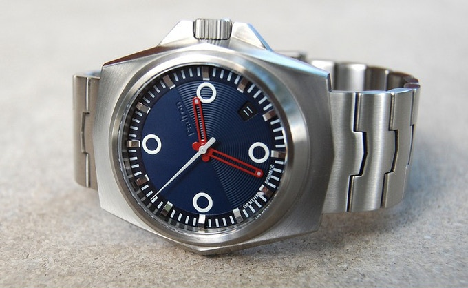 The Tessera in brushed stainless with midnight blue dial