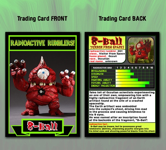 Collectible character trading card that will come packaged with all painted and DIY sofubi editions of the figure!