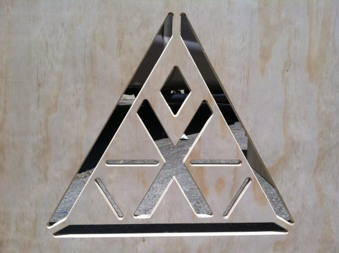 Perimeter fence panel with Temple logo