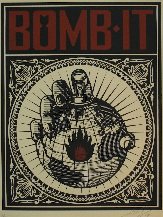 Limited Edition Signed and Numbered (1/50) Shepard Fairey Bomb It Poster