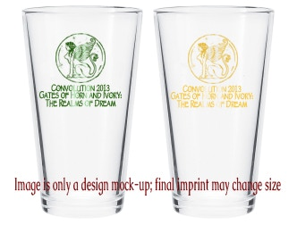 Rounding out our reward prize images, this is what we expect the pint glass set to look like.  One green, and one gold, both a matched set for you!