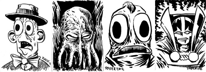 examples of sketch cards by Rafer Roberts